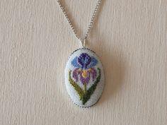 Cross stitch pendant - Iris Flower, Purple with Silver Setting  30x20 mm (1.2x0.8 inch) Oval