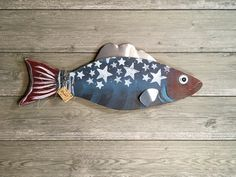 Handcrafted and painted wood fish decor. #fish #wood #handcrafted #art #folkart #woodfish #lake #funky
