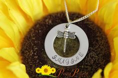 """❤ IMAGINE NECKLACE DESCRIPTION: Personalized stainless steel disc with """"Imagine"""" stamped and dragonfly charm by Pretty Prairie Designs. #dragonflycharm #imaginenecklace #motivationaljewelry, inspiringnecklace"""