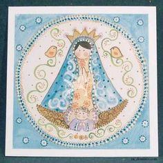 [c] Estampa Virgen de Lujan Manto Turqueza