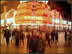 """Spend a light-filled evening on Las Vegas' Fremont Street, gambling at the Golden Nugget. Photo via """"Down the Wrabbit Hole - The Travel Bucket List"""" blog. Click the image for the blog post."""