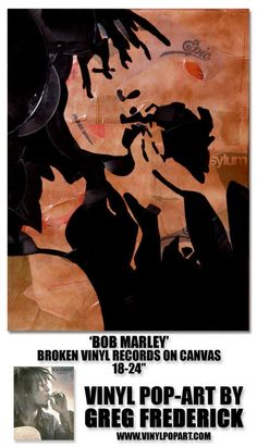 "Vinyl Pop Art by Greg Frederick Bob Marley Vinyl Records on Canvas 18x24"" http://www.vinylpopart.com/"