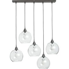 """Industrial modern chandelier suspends five glass globes from black iron canopy. Pendants stagger in length on black cords 15"""" to 29"""". Great ..."""