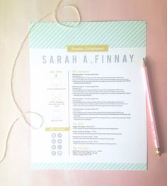 customized resume design \/ the sarah Graphic Design Resume, Graphic Design Layouts, Typography Design, Layout Design, Branding Design, Web Design, Lettering, Cv Inspiration, Graphic Design Inspiration