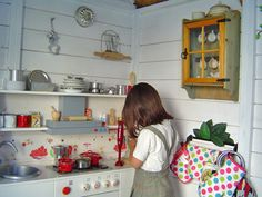 Cocina de juego en una casita de madera modelo baviera.