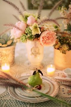 rustic or outdoor wedding table decor #WeddingTablescapes #RusticWeddings Don't love the vases but do love the flowers!