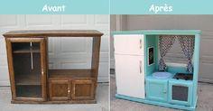 Les cuisinettes pour enfants sont assez dispendieuses. Vous avez peut-être des matériaux à récupérer à la maison pour économiser en la bricolant vous-même?Les ventes de garages ont débutées ce weekend!Peut-être aurez-vous la chance d'en trouver un?
