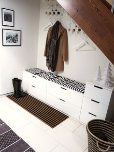 because in real life, of course, our Flur wardrobe never looks so tidy . - Home Decor -DIY - IKEA- Before After Ikea Nordli, Hall Wardrobe, Hall House, Under Stairs, Entrance Hall, White Furniture, Entryway Decor, Home And Living, Room Decor