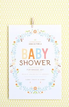 The Baby Wreath is the perfect baby shower invite for any floral themed shower. Change the colors instantly online to match your shower theme.