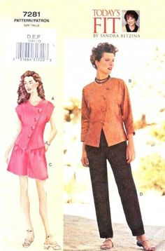 Petite Clothing - Easy Sewing Pattern - Petite Jacket - Petite Pants - Petite Pattern - New Vogue Pattern 7281