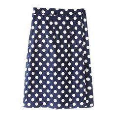Polka Dot Print Tube Midi Skirt ($15) ❤ liked on Polyvore featuring skirts, blue tube skirt, polka dot skirt, blue midi skirt, mid calf skirts and blue skirt