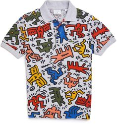 8ee26d3a8 Toddler Boy's Lacoste X Keith Haring Print Polo, Size 3Y - Grey
