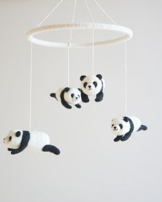 Giant Panda Crib Mobile Baby Mobile Needle Felted by Lapintrou