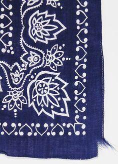 Vintage Fast Color Handkerchief Elephant 100 Cotton Navy Blue Paisley Bandana | eBay