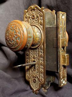 Fancy Antique Victorian Mechanical 1880s Brass Doorbell Parts