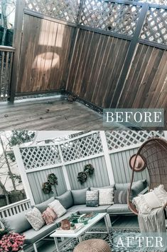 DIY Patio and Deck Makeover, Before and After of outdoor space transformation, hanging egg chair, outdoor sectional, Pretty in the Pines Style Budget Patio, Small Patio Ideas On A Budget, Diy Patio, Backyard Patio, Backyard Ideas, Pergola Ideas, Outdoor Patio Ideas On A Budget Diy, Garden Diy On A Budget, Garden Ideas