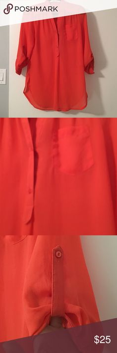 Sheer blouse Excellent condition. Great color (coral). Tops Blouses