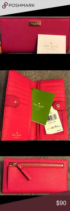 Kate Spade wallet Hot pink Kaye Spade wallet. Brand new, never used kate spade Bags Wallets