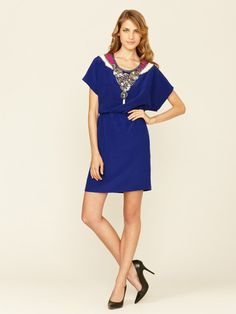 Trina Turk Amaryllis Embellished Silk Dress