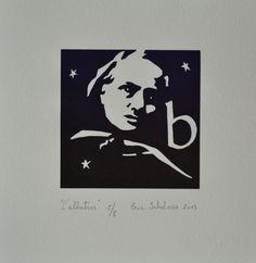 """""""L'albatros"""", linogravure réalisée en huit exemplaires par Eric Schelstraete, 2013. Un portrait du poète Charles Baudelaire."""