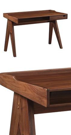 An organized space is a happy space. Cleanly designed, this elegantly refined Denny Desk will help keep your home office delightfully clutter-free. Crafted from beautifully grained solid walnut, this m...  Find the Denny Desk, as seen in the New Arrivals Collection at http://dotandbo.com/collections/new-arrivals-7-slash-5?utm_source=pinterest&utm_medium=organic&db_sku=124243