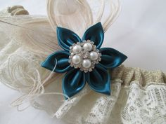 BURLAP Wedding Garter Set Deep Teal Garter by GibsonGirlGarters