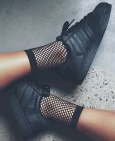 Adidas Women Shoes - Sneakers women - Adidas Superstar black and fishnet socks (©livrah) - We reveal the news in sneakers for spring summer 2017 Black Adidas Superstar, Fishnet Ankle Socks, Ankle High Socks, Lace Socks, Mesh Socks, Tights, High Heels, Adidas Shoes Women, Sneakers Women