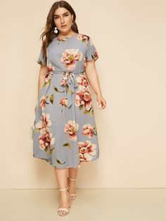 Plus Large Floral Print Belted Dress Plus Size plus size dresses Shirred Dress, Belted Dress, The Dress, Curvy Outfits, Mode Outfits, Plus Size Outfits, Plus Size Clothing, Curvy Fashion, Plus Size Fashion