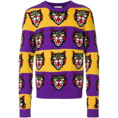 Gucci angry cat sweater ($1,050) ❤ liked on Polyvore featuring men's fashion, men's clothing, men's sweaters, mens woolen sweaters, mens striped sweater, mens cat sweater, mens wool sweaters and gucci mens sweater