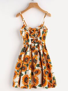 Cute Summer Sunflower Print Random Crisscross Back A Line Cami Casual Dress #camidress
