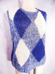 Argyle Sweater Vest Sz L Deep Armholes Vintage 80s Knit Grunge Indie