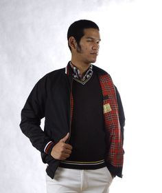 Monkey Jacket  Red and White stripe  Red Tartan Full and pocket inside