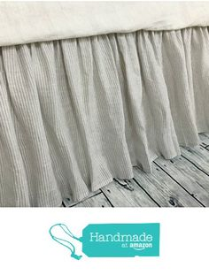 Stone gray ticking stripe bed skirt, Ticking stripe dust ruffle, Country bed skirts, HANDMADE, FREE SHIPPING from SuperiorCustomLinens https://www.amazon.com/dp/B01N7MEQ8V/ref=hnd_sw_r_pi_dp_fxqNyb306PV0B #handmadeatamazon