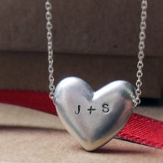 Personalized+Heart+necklace++custom+initials++hand+by+metalicious,+$86.00