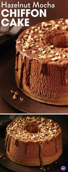 Hazelnut Mocha Chiffon Cake - This chiffon cake recipe combines the luscious flavor of hazelnut and mocha! This cake is perfect for any celebration or as a sweet ending for a perfect meal. Makes 10-12 servings