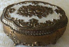 Vintage Gold Metal Embossed/Enameled Footed Jewelry/Trinket Box (8158), Made in Japan