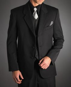 Black Suit Vest And Silver Tie