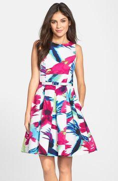 Eliza J Belted Floral Print Fit & Flare Dress (Regular & Petite) available at #Nordstrom