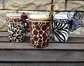 New leopard print, giraffe print, and zebra print Ball Mini Mason Jars listed!
