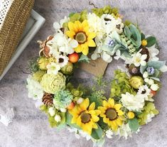 太陽の花 ひまわりリース (Mサイズ18.19cm)|フラワー・リース|my craft|ハンドメイド通販・販売のCreema