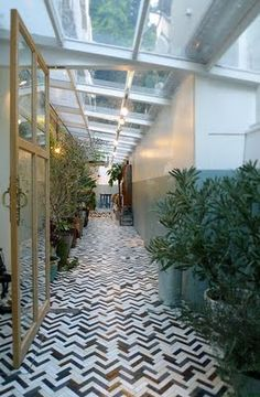 tile floor / sky light end-to-end / greenery - all in all a perfect hall
