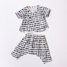 Infant & Toddler Ninja Pants - Black & White Squares