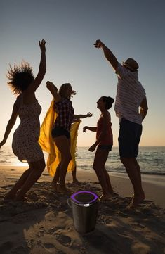 A bucket-shaped wireless speaker packs in and packs out the beach, pool or picnic spot in a splashproof, Bluetooth sound-boosting design. Wireless Outdoor Speakers, Wireless Charging Pad, Bluetooth, Party Speakers, Great Speakers, Music Gadgets, Altec Lansing, French Girl Style, House Party