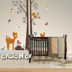 Children Wall Decal Wall Sticker - Squirrels On the Tree with Baby Deer and Birds Wall Stickers - PLWD010L