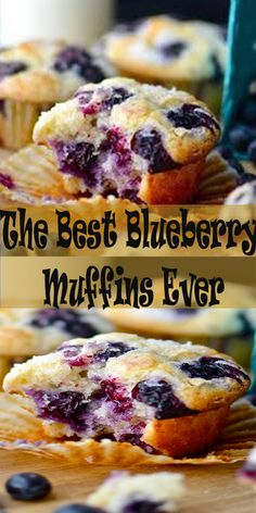 The Best Blueberry Muffins Ever Jumbo Blueberry Muffin Recipe, Oatmeal Blueberry Muffins Healthy, Homemade Blueberry Muffins, Simple Muffin Recipe, Blueberry Desserts, Blue Berry Muffins, Blueberry Cake, Sour Cream Muffins, Streusel Muffins