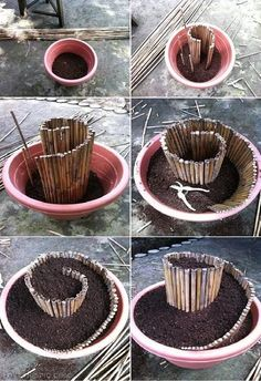 DIY Mini Spiral Garden  bamboo recycle