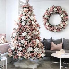 The Floral Christmas Tree Trend Is Back and The Pictures Are Stunning : This trend has us swapping garland for gardenias, and we may never go back. Rose Gold Christmas Tree, Rose Gold Christmas Decorations, Diy Christmas Tree Skirt, Elegant Christmas Trees, Christmas Tree Themes, Noel Christmas, Rustic Christmas, Christmas Pictures, Christmas Tree With Feathers