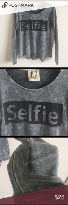 PPLA clothing selfie top Stretchy top in great condition. Super flattering. Only issue is on the sleeve(not really visible when worn) PPLA clothing  Tops Tees - Long Sleeve