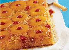 Easy Pineapple Upside-Down Cake: 1/4  cup butter or margarine      1  cup packed brown sugar      1  can (20 oz) pineapple slices in juice, drained, juice reserved      1  jar (6 oz) maraschino cherries without stems, drained      1  box Betty Crocker® SuperMoist yellow cake mix      Vegetable oil and eggs called for on cake mix box