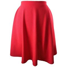 Red Short Flared Skater Skirt (91 PLN) ❤ liked on Polyvore featuring skirts, red, red short skirt, red flared skirt, pleated skater skirt, knee length flared skirts and pleated skirt